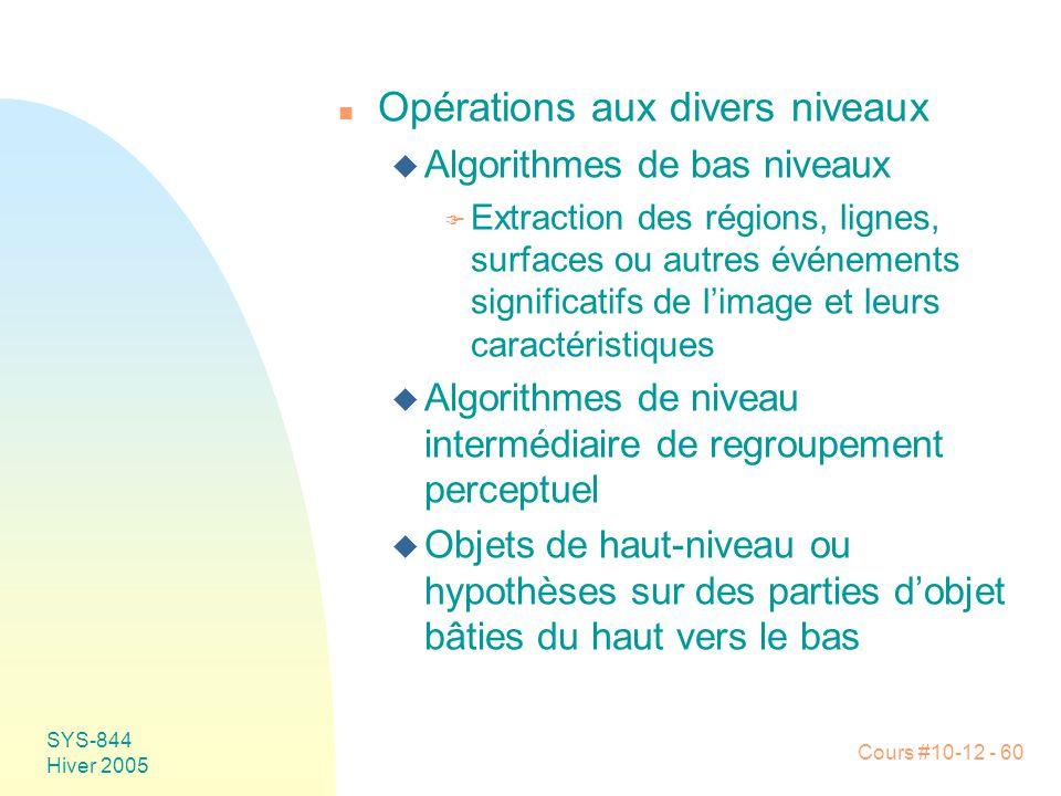 Cours #10-12 - 60 SYS-844 Hiver 2005 n Opérations aux divers niveaux u Algorithmes de bas niveaux F Extraction des régions, lignes, surfaces ou autres