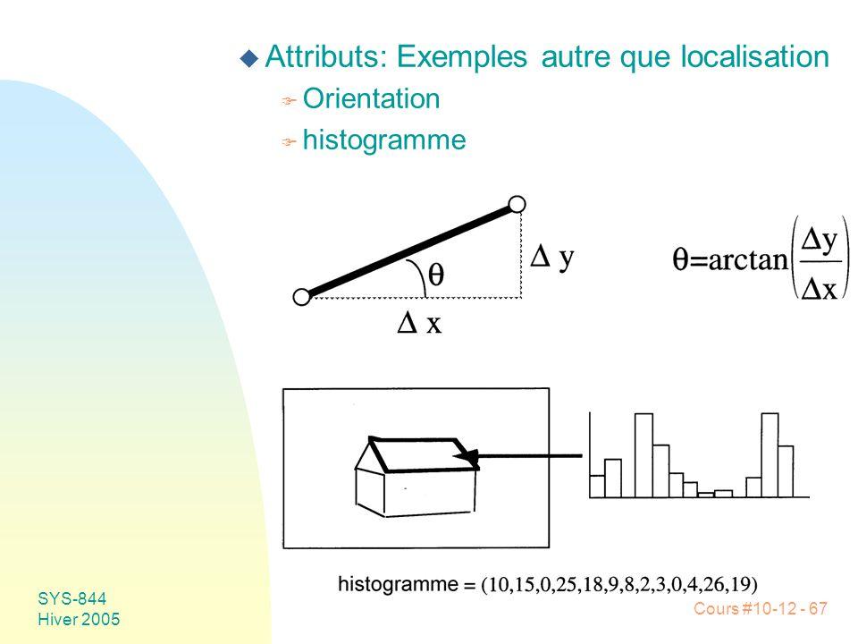 Cours #10-12 - 67 SYS-844 Hiver 2005 u Attributs: Exemples autre que localisation F Orientation F histogramme