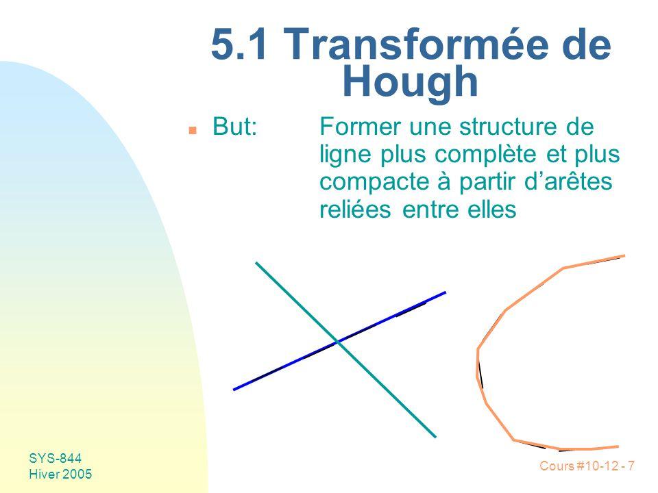 Cours #10-12 - 58 SYS-844 Hiver 2005 n Niveaux de représentation u 1: Rétino-centrique F Image F Régions, arêtes u 2: Éléments symboliques Regroupement de primitives •Lignes et courbes •Contours •Frontières u 3: Hypothèses Détermination du contenu symbolique