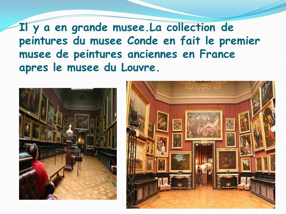 Il y a en grande musee.La collection de peintures du musee Conde en fait le premier musee de peintures anciennes en France apres le musee du Louvre.