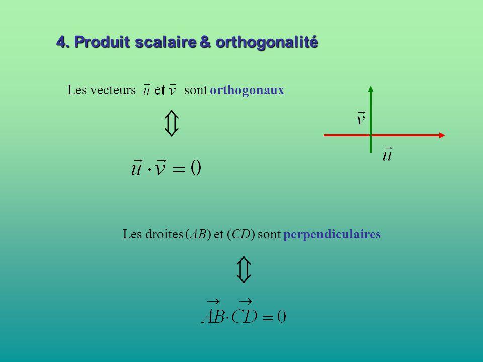 4. Produit scalaire & orthogonalité Les vecteurs sont orthogonaux  Les droites (AB) et (CD) sont perpendiculaires 