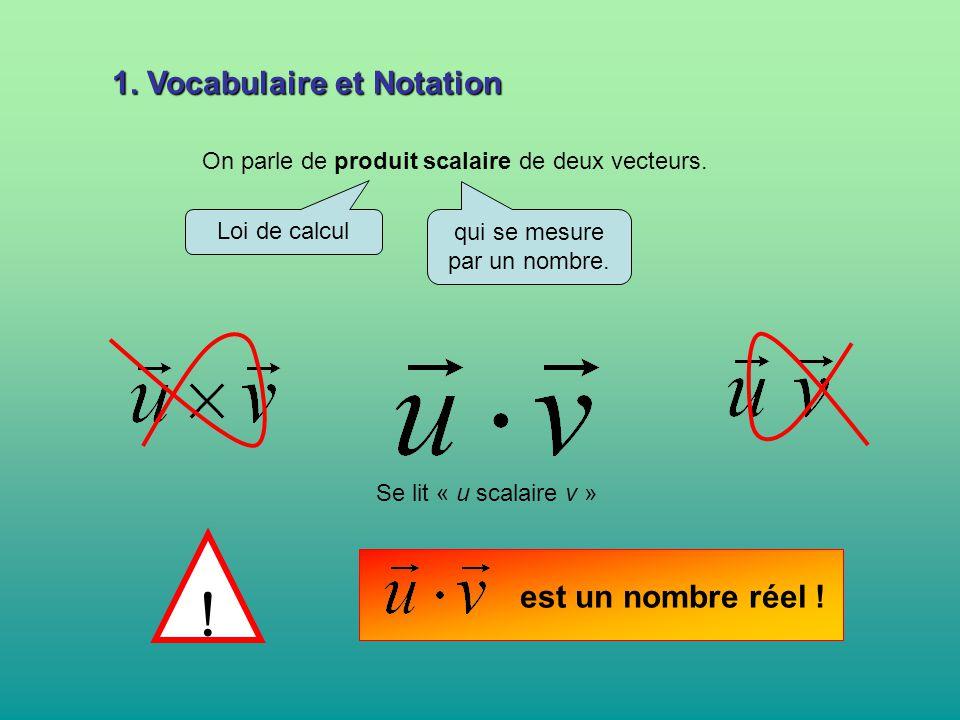 1. Vocabulaire et Notation On parle de produit scalaire de deux vecteurs. Loi de calcul qui se mesure par un nombre. Se lit « u scalaire v » est un no