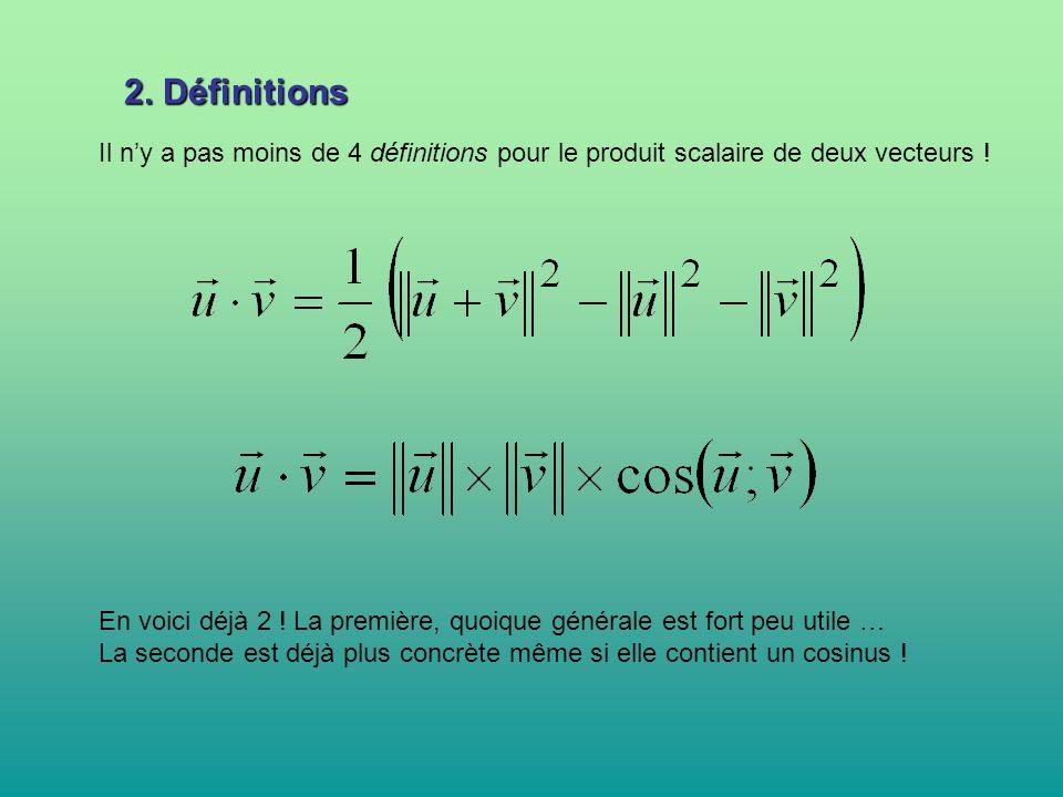 2. Définitions Il n'y a pas moins de 4 définitions pour le produit scalaire de deux vecteurs ! En voici déjà 2 ! La première, quoique générale est for