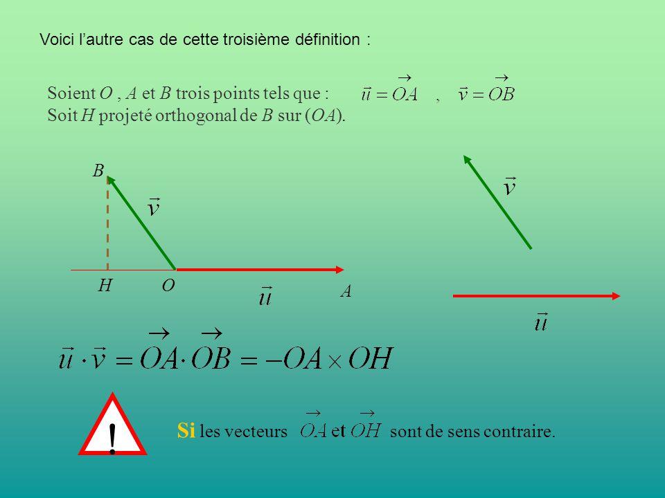 Soient O, A et B trois points tels que : Soit H projeté orthogonal de B sur (OA). Voici l'autre cas de cette troisième définition : Si les vecteurs so