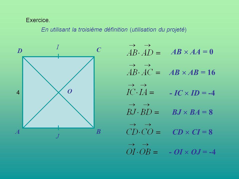 Exercice. En utilisant la troisième définition (utilisation du projeté) AB C D O AB  AA = 0 AB  AB = 16 - IC  ID = -4 BJ  BA = 8 CD  CI = 8 - OI