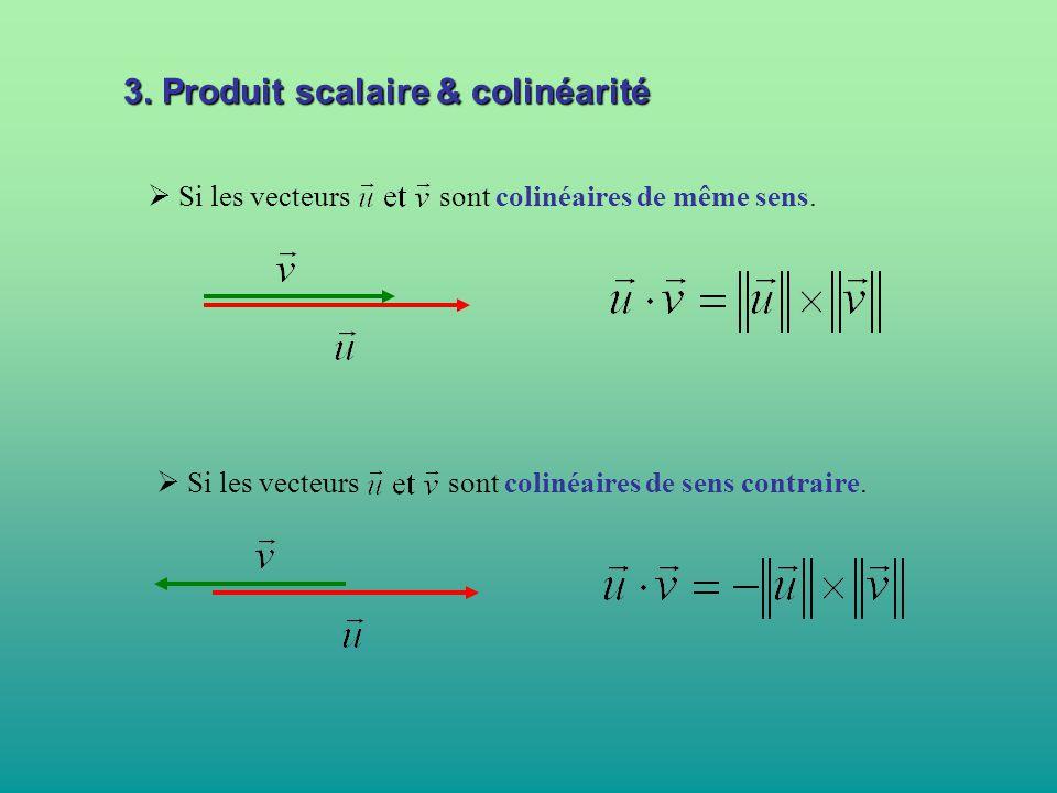  Si les vecteurs sont colinéaires de même sens.  Si les vecteurs sont colinéaires de sens contraire. 3. Produit scalaire & colinéarité