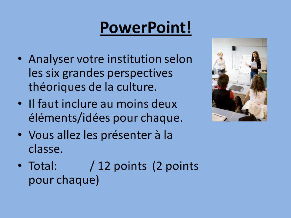 PowerPoint! • Analyser votre institution selon les six grandes perspectives théoriques de la culture. • Il faut inclure au moins deux éléments/idées p