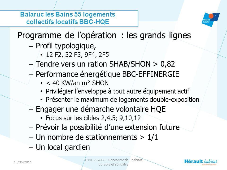 15/06/2011 THAU AGGLO - Rencontre de l habitat durable et solidaire Balaruc les Bains 55 logements collectifs locatifs BBC-HQE Programme de l'opération : les grands lignes – Profil typologique, • 12 F2, 32 F3, 9F4, 2F5 – Tendre vers un ration SHAB/SHON > 0,82 – Performance énergétique BBC-EFFINERGIE • < 40 KW/an m² SHON • Privilégier l'enveloppe à tout autre équipement actif • Présenter le maximum de logements double-exposition – Engager une démarche volontaire HQE • Focus sur les cibles 2,4,5; 9,10,12 – Prévoir la possibilité d'une extension future – Un nombre de stationnements > 1/1 – Un local gardien