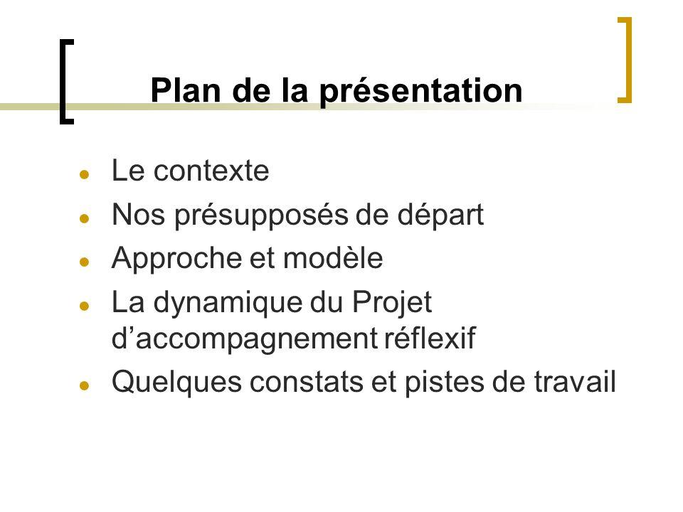 Plan de la présentation ● Le contexte ● Nos présupposés de départ ● Approche et modèle ● La dynamique du Projet d'accompagnement réflexif ● Quelques c