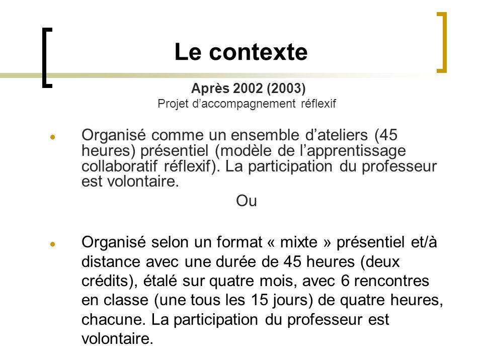 Le contexte Après 2002 (2003) Projet d'accompagnement réflexif ● Organisé comme un ensemble d'ateliers (45 heures) présentiel (modèle de l'apprentissage collaboratif réflexif).