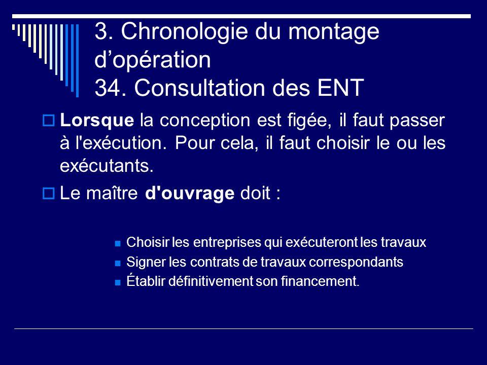 3. Chronologie du montage d'opération 34. Consultation des ENT  Lorsque la conception est figée, il faut passer à l'exécution. Pour cela, il faut cho