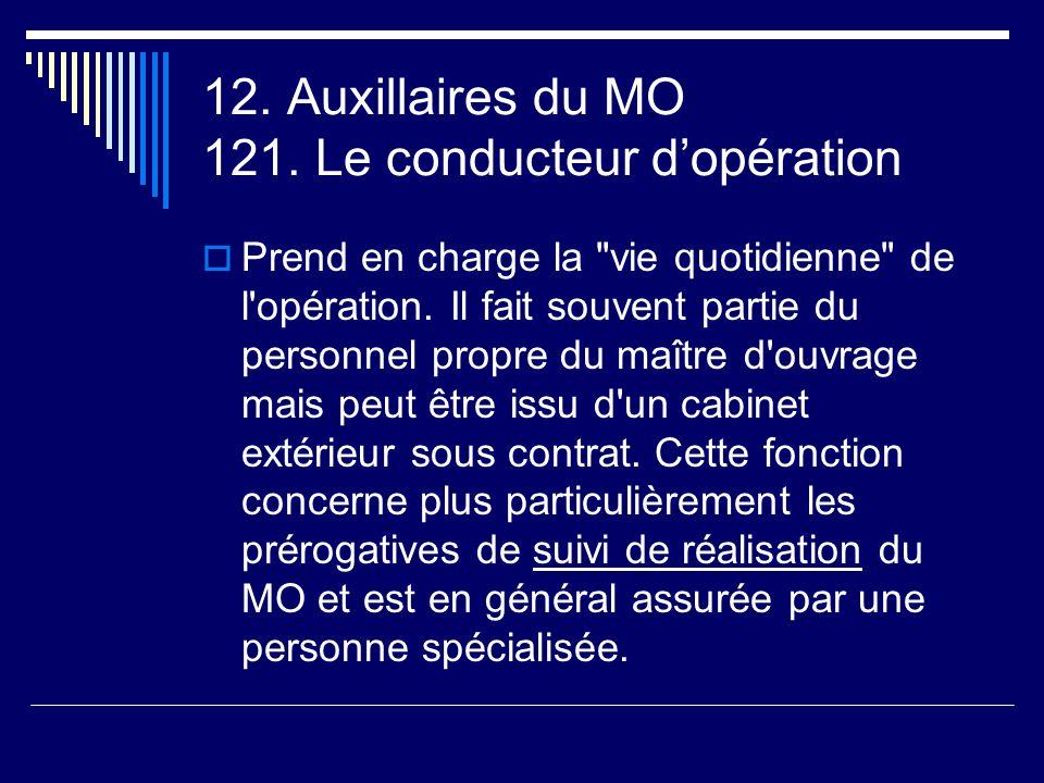 12. Auxillaires du MO 121. Le conducteur d'opération  Prend en charge la