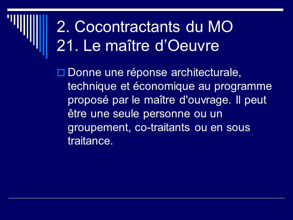 2. Cocontractants du MO 21. Le maître d'Oeuvre  Donne une réponse architecturale, technique et économique au programme proposé par le maître d'ouvrag