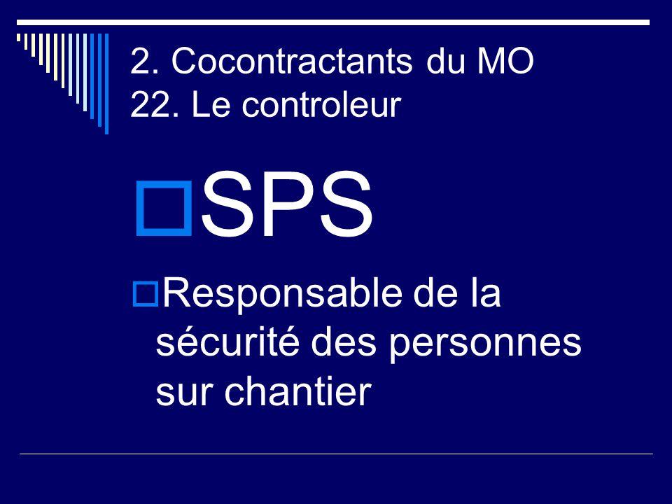 2. Cocontractants du MO 22. Le controleur  SPS  Responsable de la sécurité des personnes sur chantier