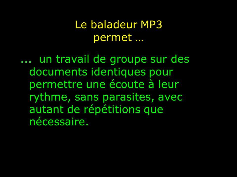 Le baladeur MP3 permet …...