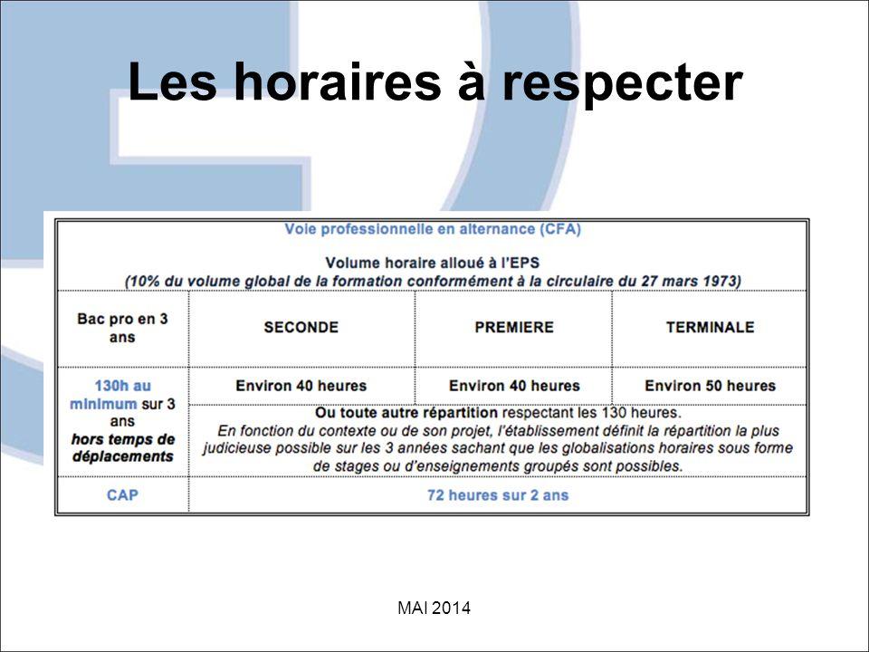 Les horaires à respecter MAI 2014