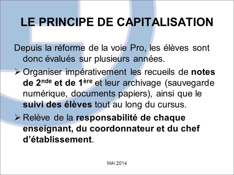 LE PRINCIPE DE CAPITALISATION Depuis la réforme de la voie Pro, les élèves sont donc évalués sur plusieurs années.