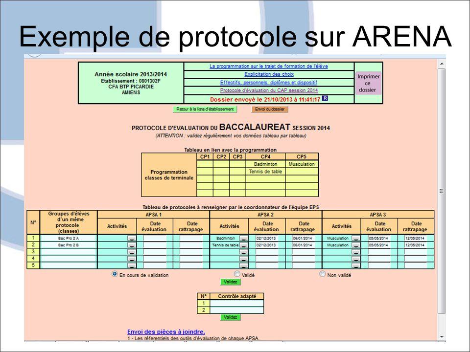 Exemple de protocole sur ARENA MAI 2014