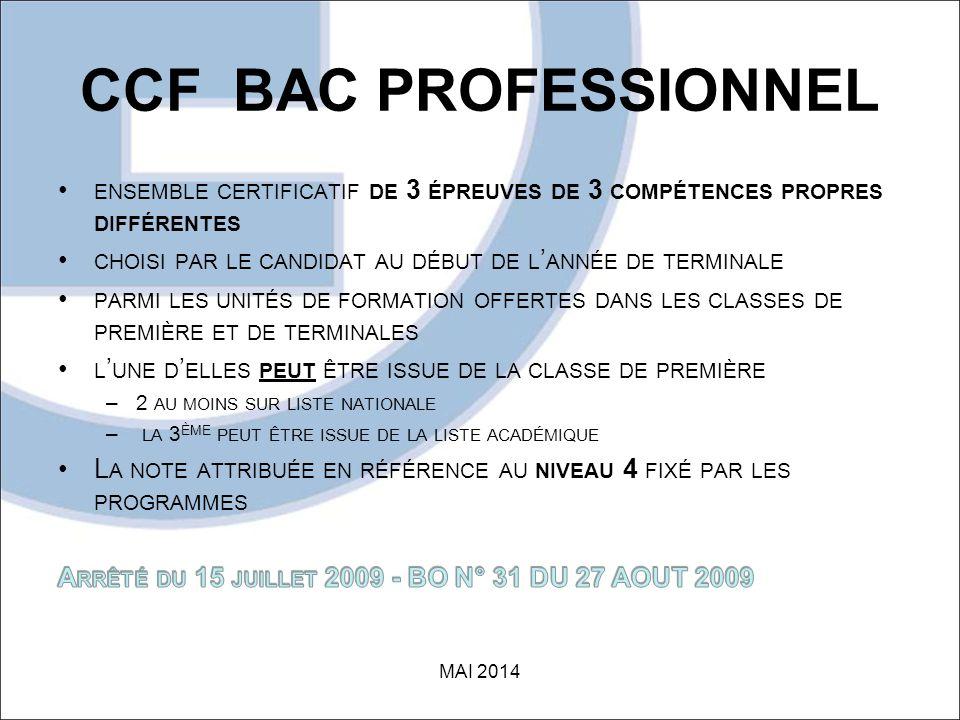 CCF BAC PROFESSIONNEL MAI 2014