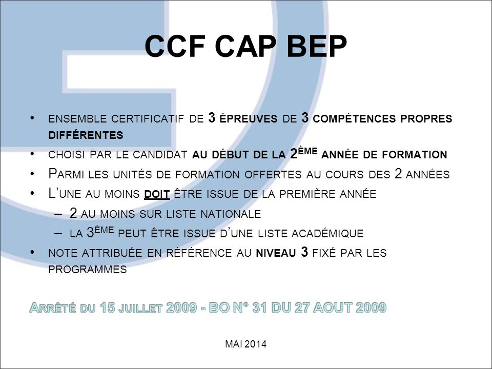 CCF CAP BEP MAI 2014