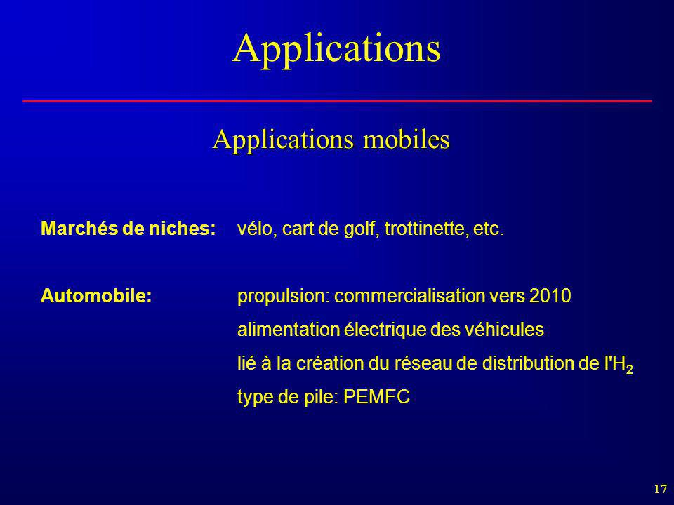 17 Applications mobiles Marchés de niches:vélo, cart de golf, trottinette, etc. Automobile:propulsion: commercialisation vers 2010 alimentation électr