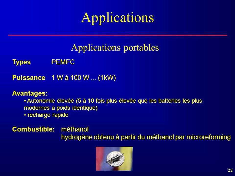 22 Applications TypesPEMFC Puissance1 W à 100 W... (1kW) Avantages: • Autonomie élevée (5 à 10 fois plus élevée que les batteries les plus modernes à