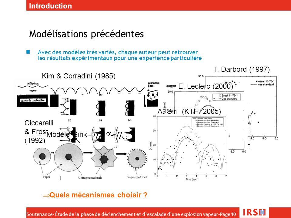 Soutenance- Étude de la phase de déclenchement et d'escalade d'une explosion vapeur–Page 10 Modélisations précédentes Avec des modèles très variés, ch