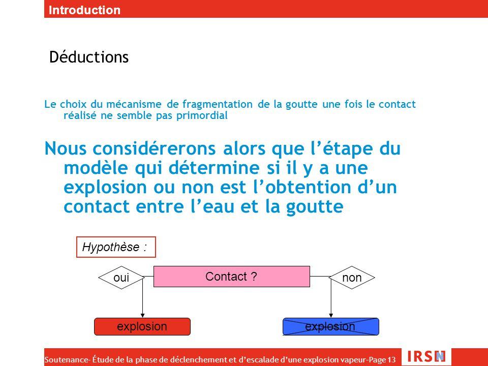 Soutenance- Étude de la phase de déclenchement et d'escalade d'une explosion vapeur–Page 13 Déductions Le choix du mécanisme de fragmentation de la go