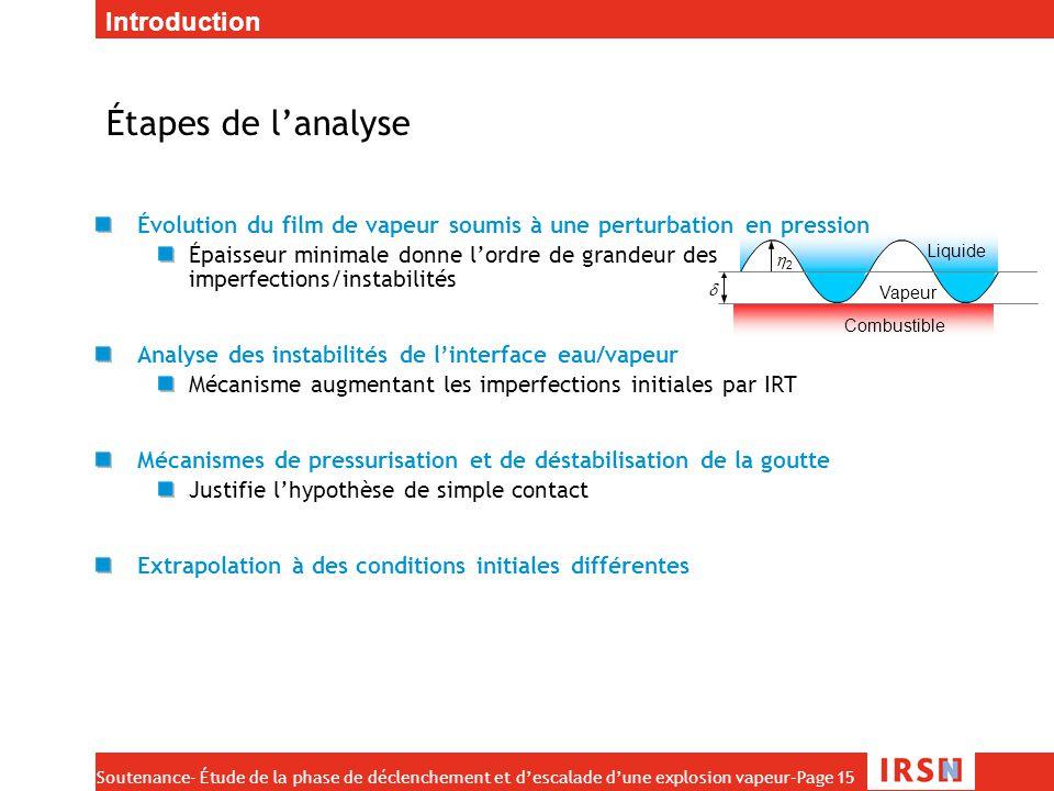 Soutenance- Étude de la phase de déclenchement et d'escalade d'une explosion vapeur–Page 15 22  Combustible Vapeur Liquide Étapes de l'analyse Évol