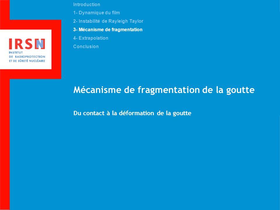 Mécanisme de fragmentation de la goutte Du contact à la déformation de la goutte Introduction 1- Dynamique du film 2- Instabilité de Rayleigh Taylor 3