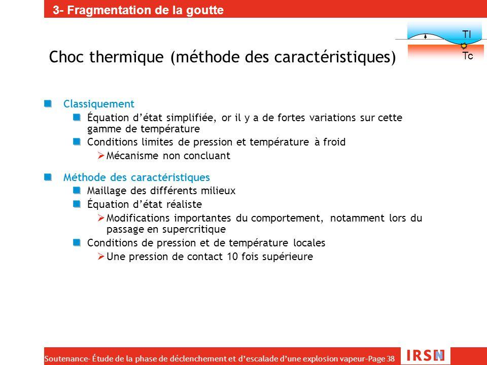 Soutenance- Étude de la phase de déclenchement et d'escalade d'une explosion vapeur–Page 38 Choc thermique (méthode des caractéristiques) Classiquemen