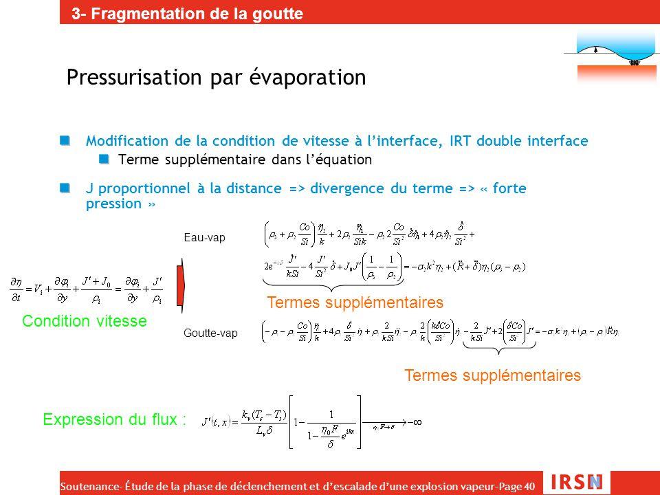 Soutenance- Étude de la phase de déclenchement et d'escalade d'une explosion vapeur–Page 40 Pressurisation par évaporation Modification de la conditio