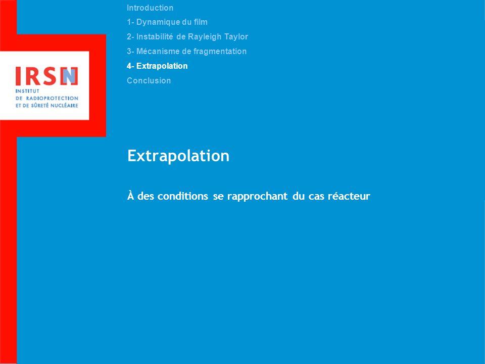 Extrapolation À des conditions se rapprochant du cas réacteur Introduction 1- Dynamique du film 2- Instabilité de Rayleigh Taylor 3- Mécanisme de frag