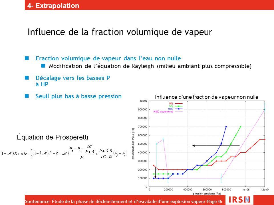 Soutenance- Étude de la phase de déclenchement et d'escalade d'une explosion vapeur–Page 46 Influence de la fraction volumique de vapeur Fraction volu