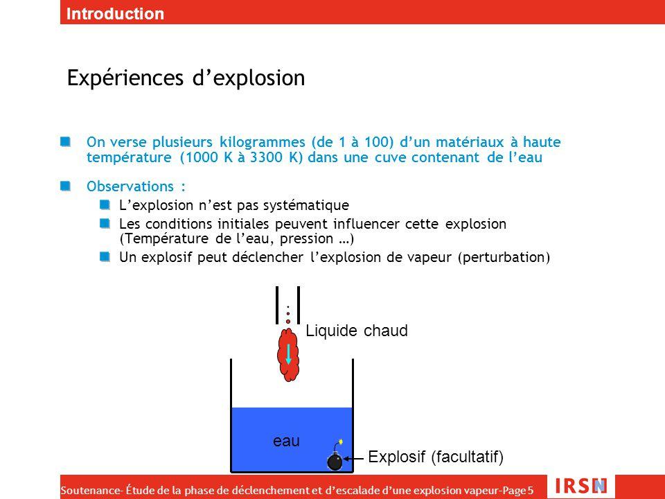 Soutenance- Étude de la phase de déclenchement et d'escalade d'une explosion vapeur–Page 6 Phases de l'explosion État initial: grosses gouttes de combustible liquide entourées de vapeur, éparpillées dans le réfrigérant (~1 cm) Initiation Initiation : une perturbation fragmente finement une partie du mélange (~100 µm) Propagation/Escalade : la partie fragmentée génère une surpression qui va fragmenter les gouttes voisines.