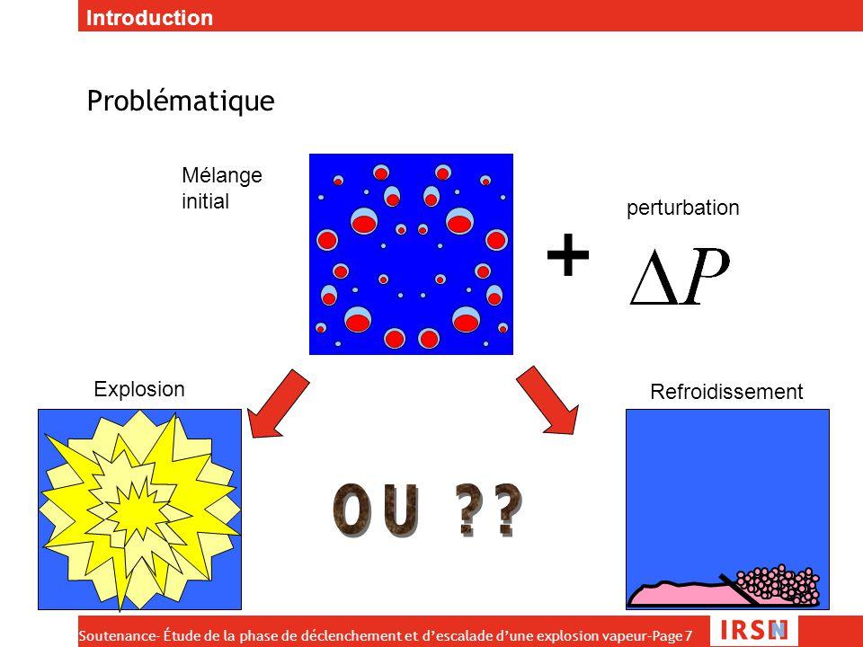 Soutenance- Étude de la phase de déclenchement et d'escalade d'une explosion vapeur–Page 8 Restriction de l'étude Mécanisme de fragmentation thermique (faibles perturbations, We<12) Nous cherchons à savoir dans quelles conditions une explosion peut être initiée Nous nous intéressons pour cela aux rôles :  De la pression ambiante  De la forme et de l'amplitude de la perturbation  De la température de l'eau et du combustible  Du taux de vide La fragmentation d'au moins une goutte initie l'explosion  Nous nous intéressons à la fragmentation thermique d'une goutte Introduction