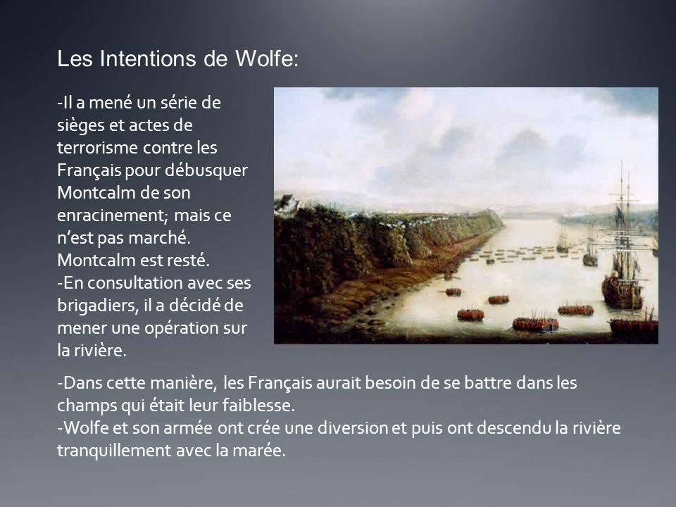 Les Intentions de Wolfe: -Il a mené un série de sièges et actes de terrorisme contre les Français pour débusquer Montcalm de son enracinement; mais ce