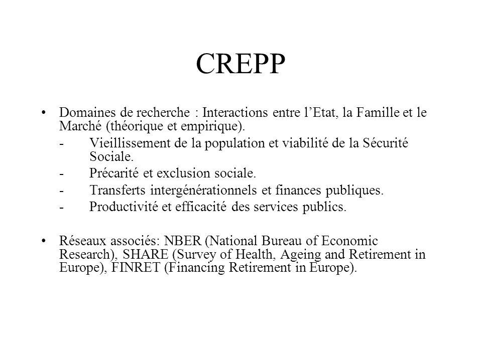 CREPP •Domaines de recherche : Interactions entre l'Etat, la Famille et le Marché (théorique et empirique).
