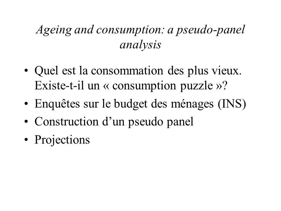 Ageing and consumption: a pseudo-panel analysis •Quel est la consommation des plus vieux.