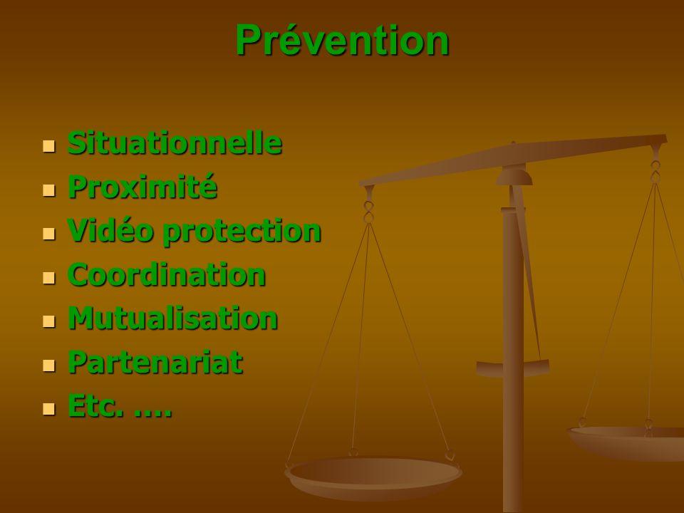 Prévention  Situationnelle  Proximité  Vidéo protection  Coordination  Mutualisation  Partenariat  Etc. ….