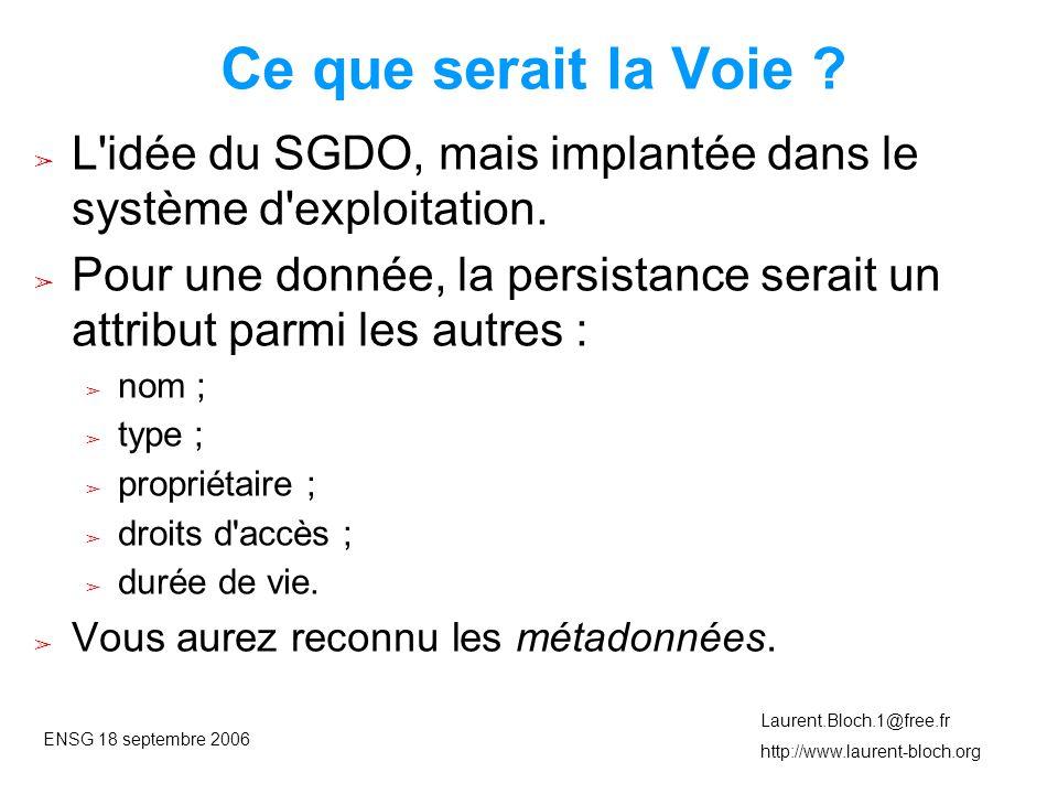 ENSG 18 septembre 2006 Laurent.Bloch.1@free.fr http://www.laurent-bloch.org Ce que serait la Voie .