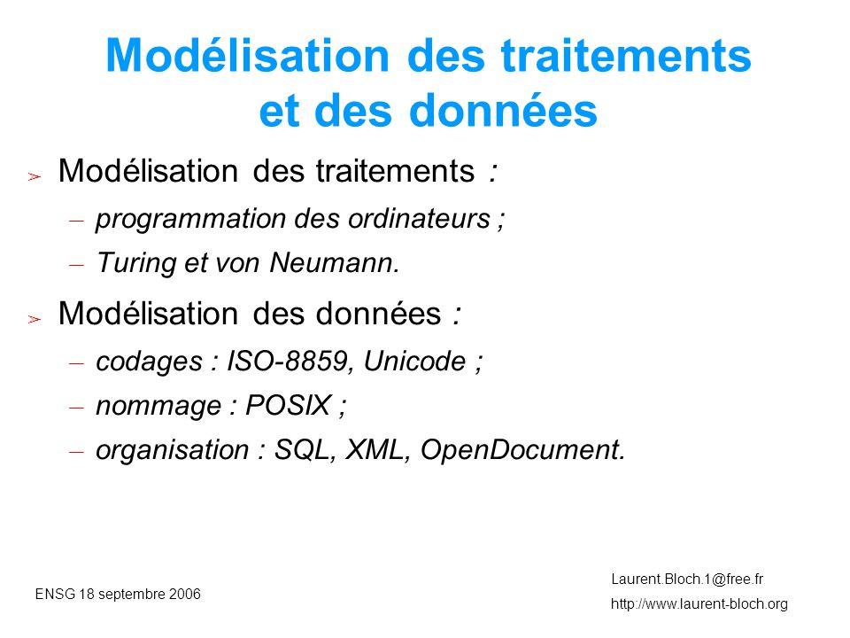 ENSG 18 septembre 2006 Laurent.Bloch.1@free.fr http://www.laurent-bloch.org Modélisation des traitements et des données ➢ Modélisation des traitements : – programmation des ordinateurs ; – Turing et von Neumann.