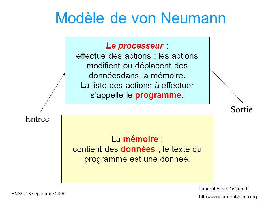 ENSG 18 septembre 2006 Laurent.Bloch.1@free.fr http://www.laurent-bloch.org Modèle de von Neumann Le processeur : effectue des actions ; les actions modifient ou déplacent des donnéesdans la mémoire.