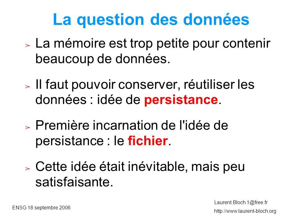 ENSG 18 septembre 2006 Laurent.Bloch.1@free.fr http://www.laurent-bloch.org Indigence des fichiers ➢ À chaque traitement, le contenu de la mémoire est vidé dans un fichier.
