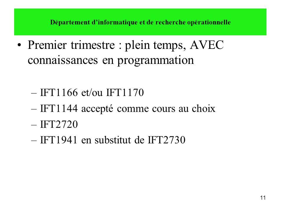 11 •Premier trimestre : plein temps, AVEC connaissances en programmation –IFT1166 et/ou IFT1170 –IFT1144 accepté comme cours au choix –IFT2720 –IFT194