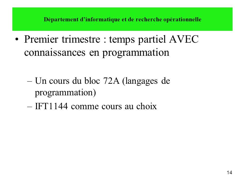 14 •Premier trimestre : temps partiel AVEC connaissances en programmation –Un cours du bloc 72A (langages de programmation) –IFT1144 comme cours au ch