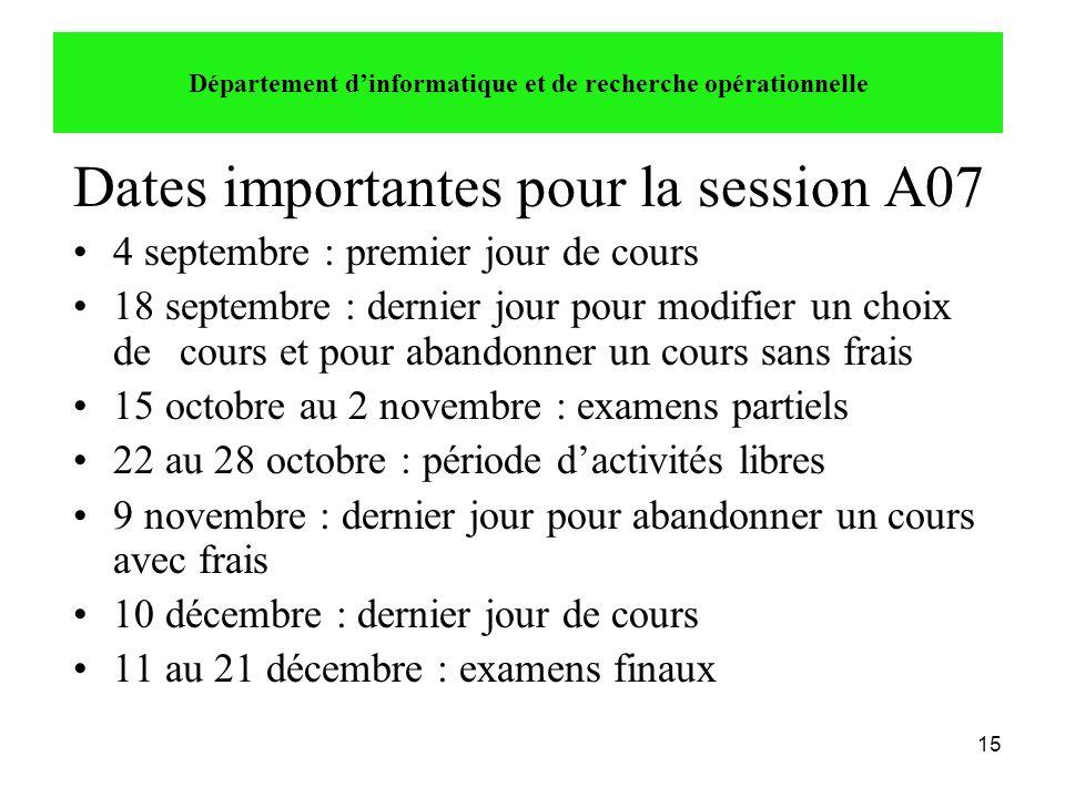 15 Dates importantes pour la session A07 •4 septembre : premier jour de cours •18 septembre : dernier jour pour modifier un choix de cours et pour aba
