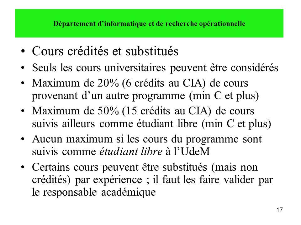 17 •Cours crédités et substitués •Seuls les cours universitaires peuvent être considérés •Maximum de 20% (6 crédits au CIA) de cours provenant d'un au