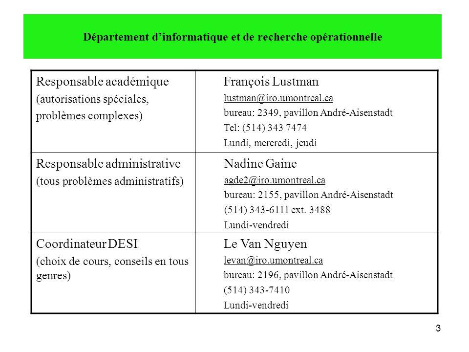 3 Responsable académique (autorisations spéciales, problèmes complexes) François Lustman lustman@iro.umontreal.ca bureau: 2349, pavillon André-Aisenst