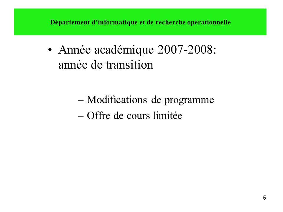 5 •Année académique 2007-2008: année de transition –Modifications de programme –Offre de cours limitée Département d'informatique et de recherche opér